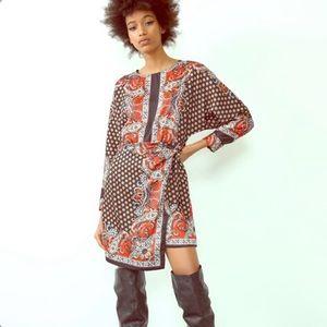 Zara patterned paisley wrap tie dress Size XS
